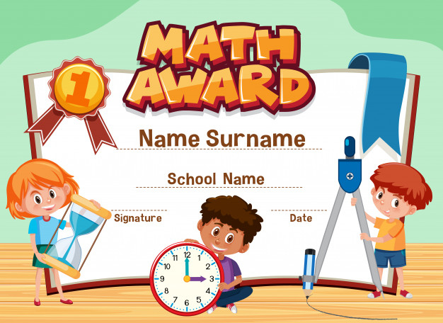 Premium Vector | Certificate Template For Math Award With in New Math Award Certificate Templates