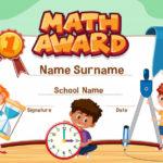 Premium Vector   Certificate Template For Math Award With With Regard To Math Certificate Template