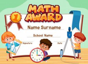 Premium Vector | Certificate Template For Math Award With with regard to Math Certificate Template