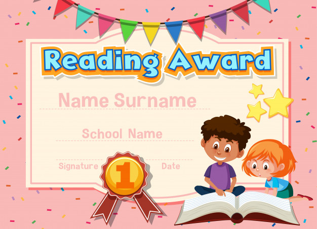 Premium Vector | Certificate Template For Reading Award With for Quality Reading Achievement Certificate Templates