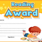 Premium Vector | Certificate Template For Reading Award With Within Quality Reading Achievement Certificate Templates