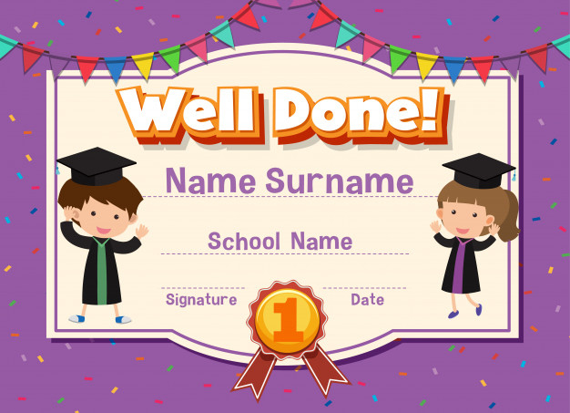Premium Vector | Certificate Template For Well Done With regarding Well Done Certificate Template