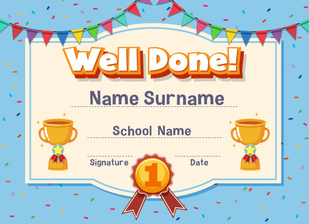 Premium Vector | Certificate Template For Well Done With Throughout Well Done Certificate Template