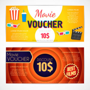 Premium Vector   Discount Voucher Movie Template, Cinema within Quality Movie Gift Certificate Template