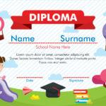 Premium Vector | Kindergarten Diploma Certificate With Regard To Kindergarten Diploma Certificate Templates 10 Designs Free