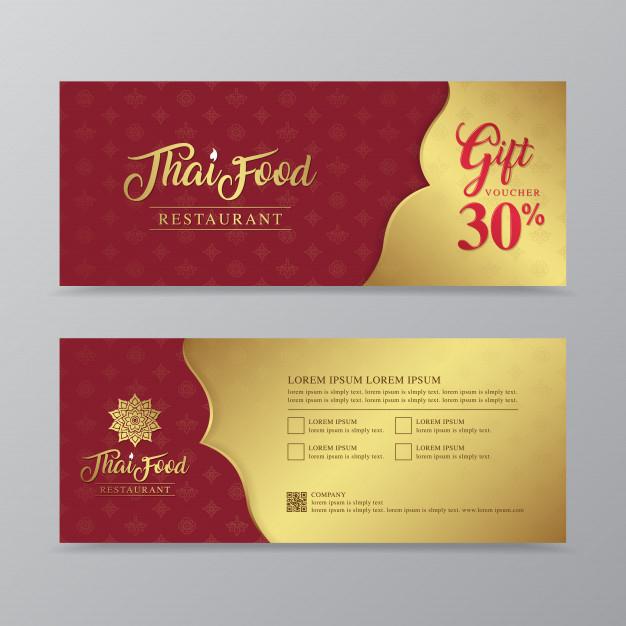 Premium Vector   Thai Food And Thai Restaurant Gift Voucher in New Restaurant Gift Certificate Template