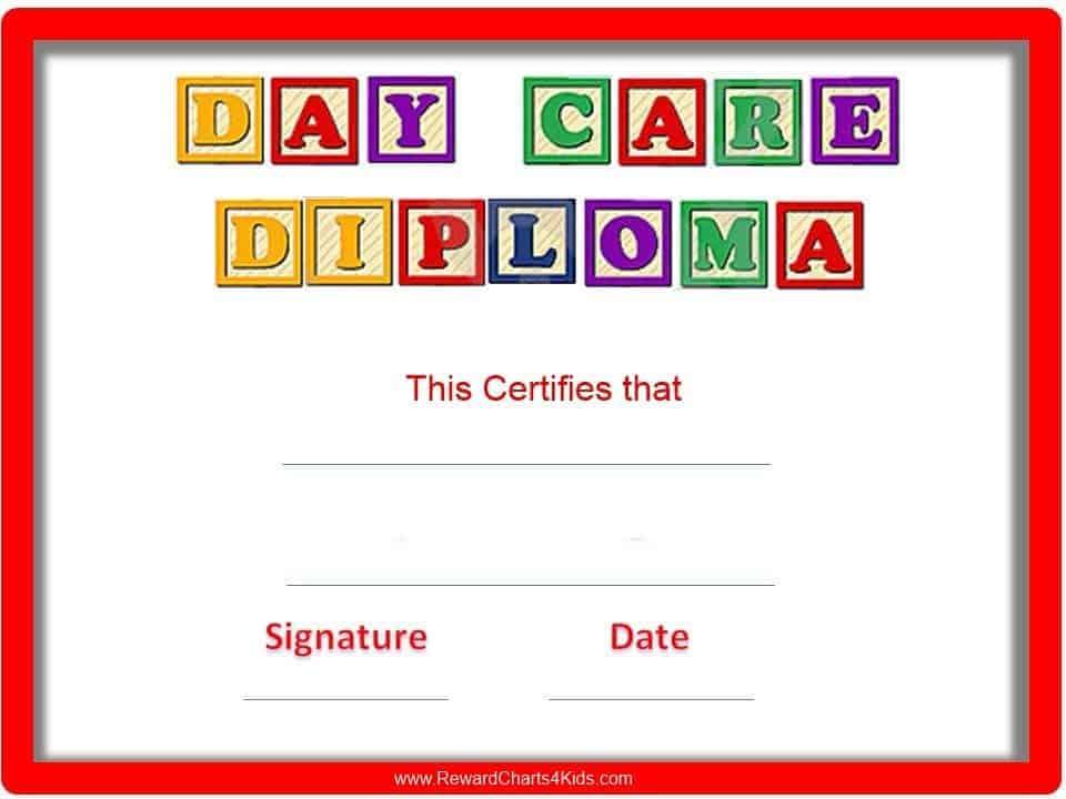 Preschool Certificates for Unique Daycare Diploma Certificate Templates