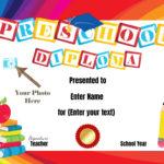 Preschool Certificates In Kindergarten Diploma Certificate Templates 10 Designs Free