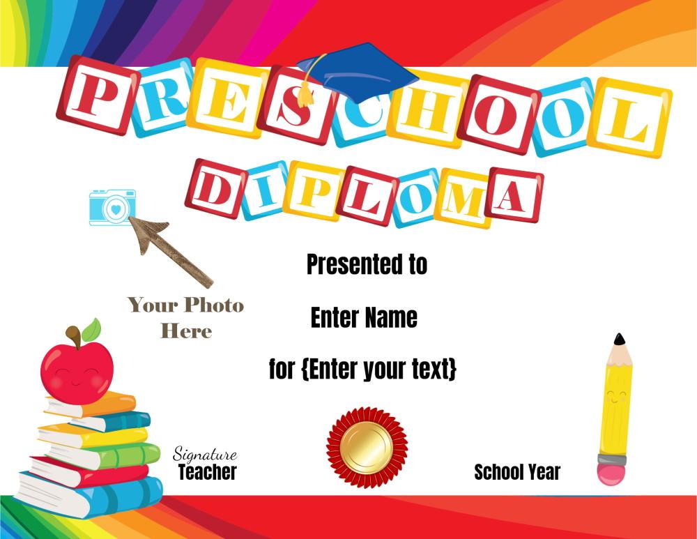 Preschool Certificates with Pre K Diploma Certificate Editable Templates