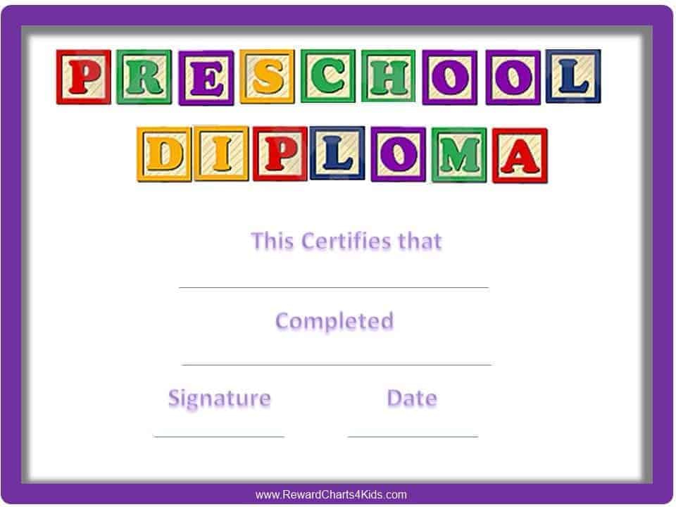 Preschool Certificates within Daycare Diploma Certificate Templates