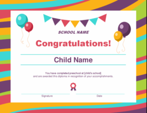 Preschool Diploma Certificate with regard to Unique Preschool Graduation Certificate Template Free