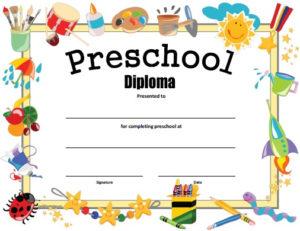 Preschool Diploma – Free Printable – Allfreeprintable in Editable Pre K Graduation Certificates