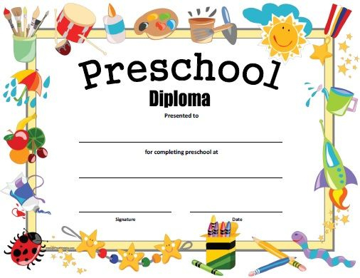Preschool Diploma - Free Printable | Kindergarten Graduation For Certificate For Pre K Graduation Template
