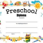 Preschool Diploma - Free Printable | Kindergarten Graduation within Daycare Diploma Certificate Templates