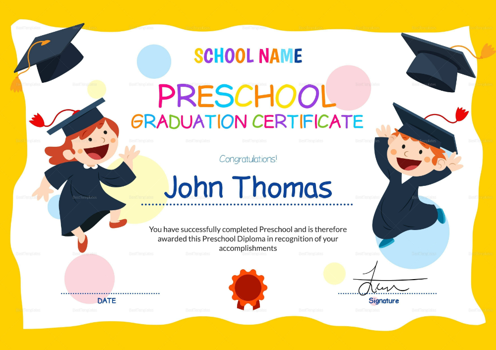 Preschool Graduation Certificate Template Free | Preschool inside Preschool Graduation Certificate Template Free