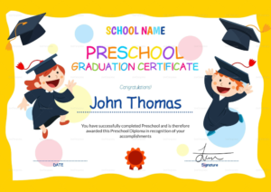 Preschool Graduation Certificate Template Free | Preschool pertaining to Kindergarten Completion Certificate Templates