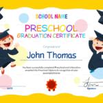 Preschool Graduation Certificate Template Free | Preschool within 10 Kindergarten Graduation Certificates To Print Free