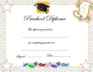 Preschool Graduation Certificate Template | Preschool with Daycare Diploma Certificate Templates