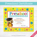 Preschool Graduation Diploma Certificate – Instant Download Pdf File –  School Party – Editable Text File  Student – Teacher In Unique Editable Pre K Graduation Certificates