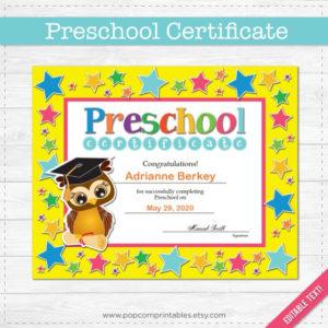 Preschool Graduation Diploma Certificate – Instant Download Pdf File –  School Party – Editable Text File- Student – Teacher in Unique Editable Pre K Graduation Certificates