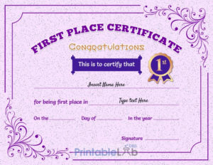 Printable 1St First Place Award Certificate Template In Pink intended for Quality First Place Award Certificate Template