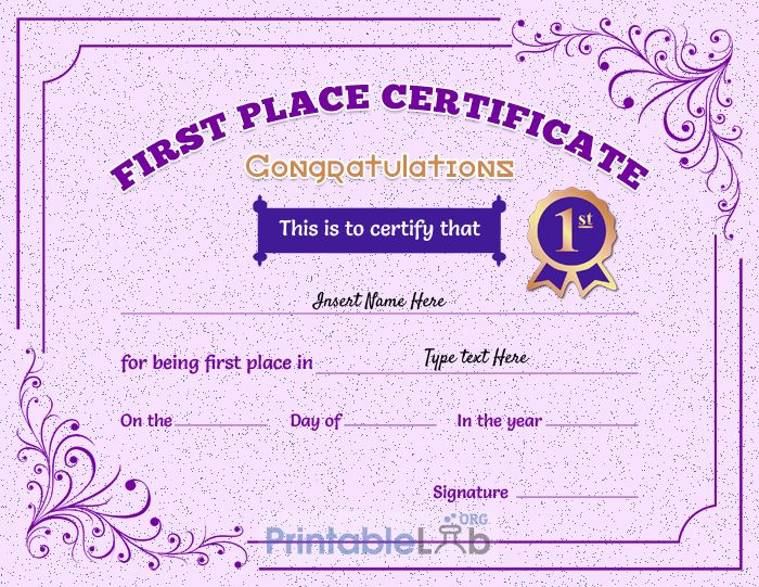 Printable 1St First Place Award Certificate Template In Pink with Quality First Place Certificate Template