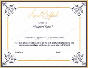 Printable Award Certificates | Soft – Templates within Professional Award Certificate Template