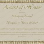Printable Award Of Honor Certificate Template – For Word In Unique Honor Award Certificate Template