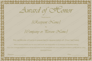 Printable Award Of Honor Certificate Template – For Word in Unique Honor Award Certificate Template