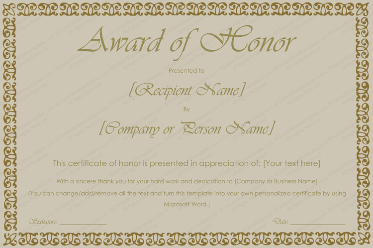 Printable Award Of Honor Certificate Template - For Word in Unique Honor Award Certificate Template