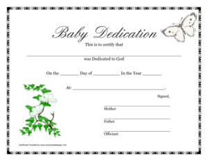 Printable Baby Dedication Certificate   Baby Dedication regarding Baby Christening Certificate Template