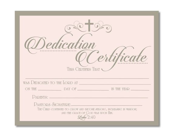 Printable Baby Dedication Certificate - Digital File - You intended for Unique Baby Dedication Certificate Template