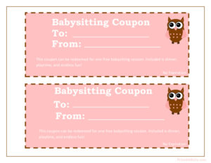 Printable Babysitting Coupons – Free Baby Sitting Voucher inside Quality Free Printable Babysitting Gift Certificate