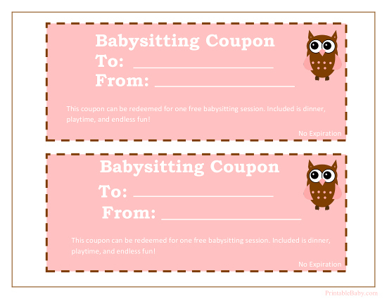 Printable Babysitting Coupons - Free Baby Sitting Voucher inside Quality Free Printable Babysitting Gift Certificate