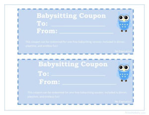 Printable Babysitting Coupons – Free Baby Sitting Voucher intended for New Babysitting Certificate Template 8 Ideas