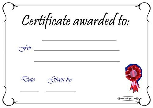 Printable Blank Certificate Award | Blank Certificate intended for Great Job Certificate Template Free 9 Design Awards