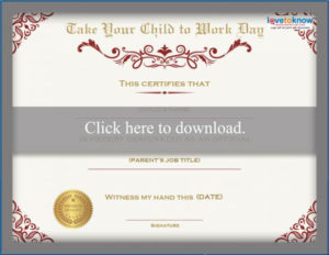 Printable Bring Your Child To Work Day Certificates | Lovetoknow throughout Certificate For Take Your Child To Work Day