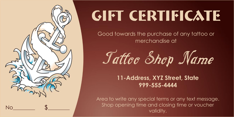 Printable -Business-Gift-Certificate-Template (Pdf) | Gift throughout Tattoo Gift Certificate Template Coolest Designs