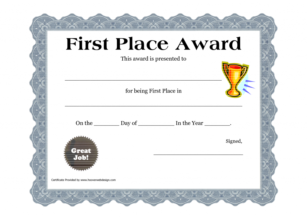 Printable Certificate Pdfs | Certificate Templates | Awards throughout Quality First Place Certificate Template