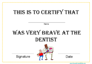 Printable Certificates For Dentists throughout Fresh Bravery Award Certificate Templates