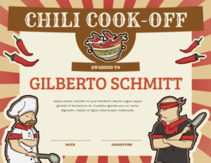 Printable Chili Cook Off Award Certificate Template with Chili Cook Off Certificate Template