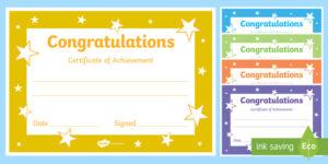 Printable Congratulations Certificate Template intended for Congratulations Certificate Word Template