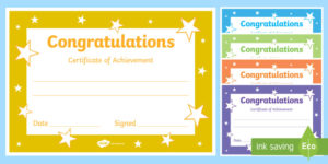 Printable Congratulations Certificate Template pertaining to Certificate Of Achievement Template For Kids