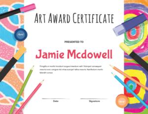 Printable Elementary Art Award Certificate Template with Art Certificate Template Free