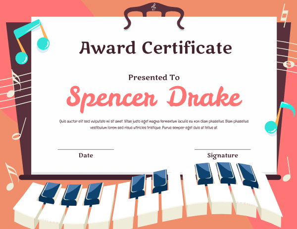 Printable Elementary Piano Student Award Certificate Template pertaining to Piano Certificate Template Free Printable
