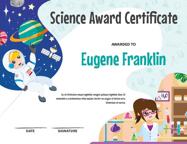 Printable Elementary Science Award Certificate Template within Science Award Certificate Templates