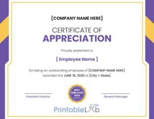 Printable Employee Appreciation Certificate Format In intended for Best Employee Certificate Template
