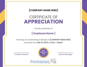 Printable Employee Appreciation Certificate Format In within Employee Appreciation Certificate Template