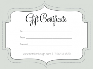 Printable Fillable Gift Certificate Template Custom with regard to Printable Gift Certificates Templates Free