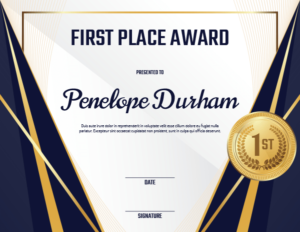 Printable First Place Medal Award Certificate Template in First Place Award Certificate Template